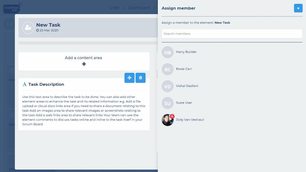 Scrum board online assign tasks