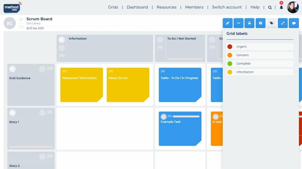 Scrum board online task labeling