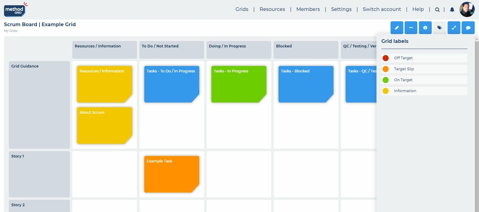 Scrum board online task labelling