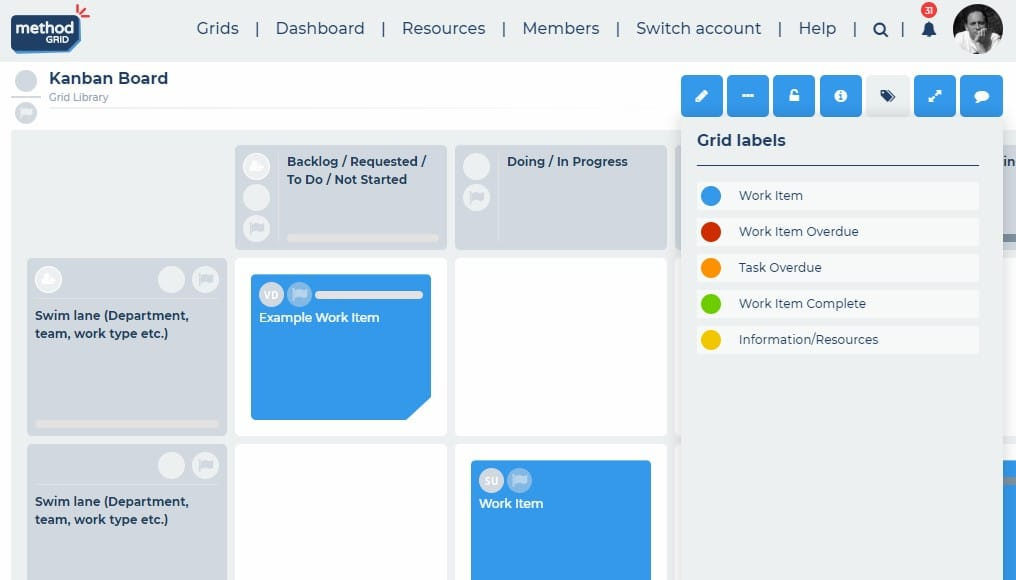 Kanban board online with customizable labeling