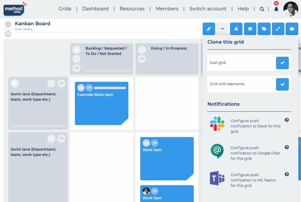 Kanban board online with online chat integrations (Slack, Microsoft Teams and Google Chat)